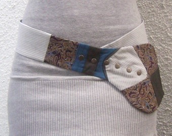 FREE SHIPPING Unique handmade belt - tie with snaps
