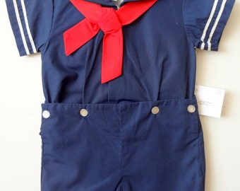 Vintage Boys Navy Classic Sailor Suit- all sizes - New, never worn