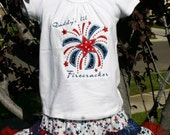 Girls Patriotic Independence Day 4th of July outfit,  Applique Shirt and Full Twirling Skirt, Patriotic outfit, American