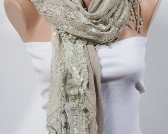 STONE Big Scarf with lace.  Valentine Scarf. For 4 seasons. Long Scarf.  New season scarf.