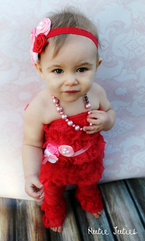 Items Similar To Valentines Lace Romper Pink Red White