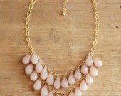 Blush Teardrop Necklace, Blush Statement Necklace, Light Pink Beaded Necklace, Blush Bridesmaid Necklace