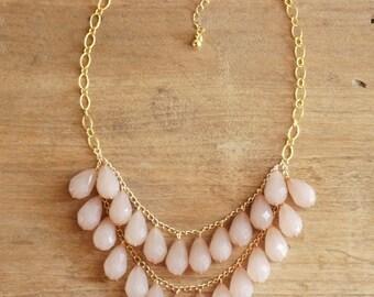Blush Teardrop Necklace, Blush Statement Necklace, Light Pink Beaded Necklace, Blush Bridesmaid Necklace