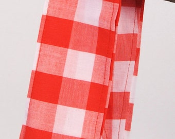 Headwrap Red Picnic Checker Print Bandana Headscarf