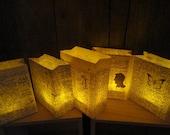 5 Book Luminary Bags, Book Club Party, Book Decor, Book Centerpiece, Dinner Party Decor, Book Art, Book Lanterns, Book Theme Wedding