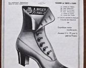 Biset, 1910, vintage, ad, original, shoes, French, fashion, advertisement, FREE WORLDWIDE SHIPPING, paper, ephemera