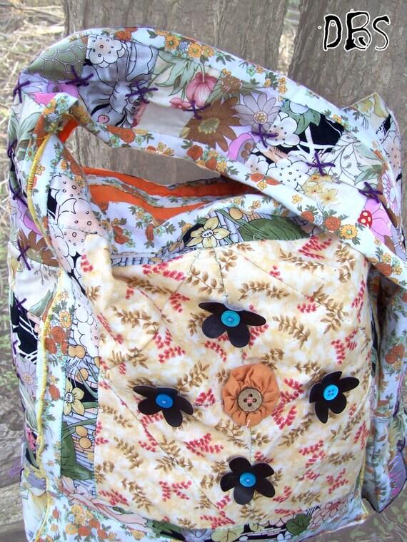 Floral Patchwork Bag Orange Shoulder Messenger Bag Hippie Gypsy Reversible