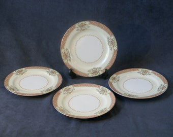 Set of 4 Bread or Salad Plates, Made by Noritake in Occupied Japan, Gold Edge, Floral & Scroll Pattern