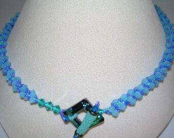 Opaque Aqua Rope Necklace