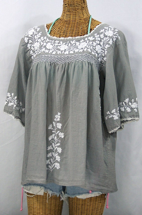 Hand Embroidered Mexican Peasant Blouse Top La