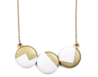 Hand Painted Geometric Metallic Gold Necklace - White Black or Shimmer Denim