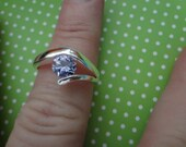 Silver Rhinestone Ring 925 Sterling Silver Solitaire Pink Purple Blue Green Diamond Like Crystal size 9