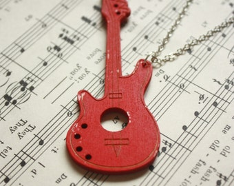 Red Electric Guitar Necklace
