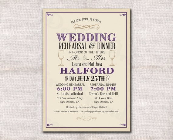 Wedding Welcome Dinner Invitation Wording: Items Similar To Wedding Rehearsal Dinner Invitation