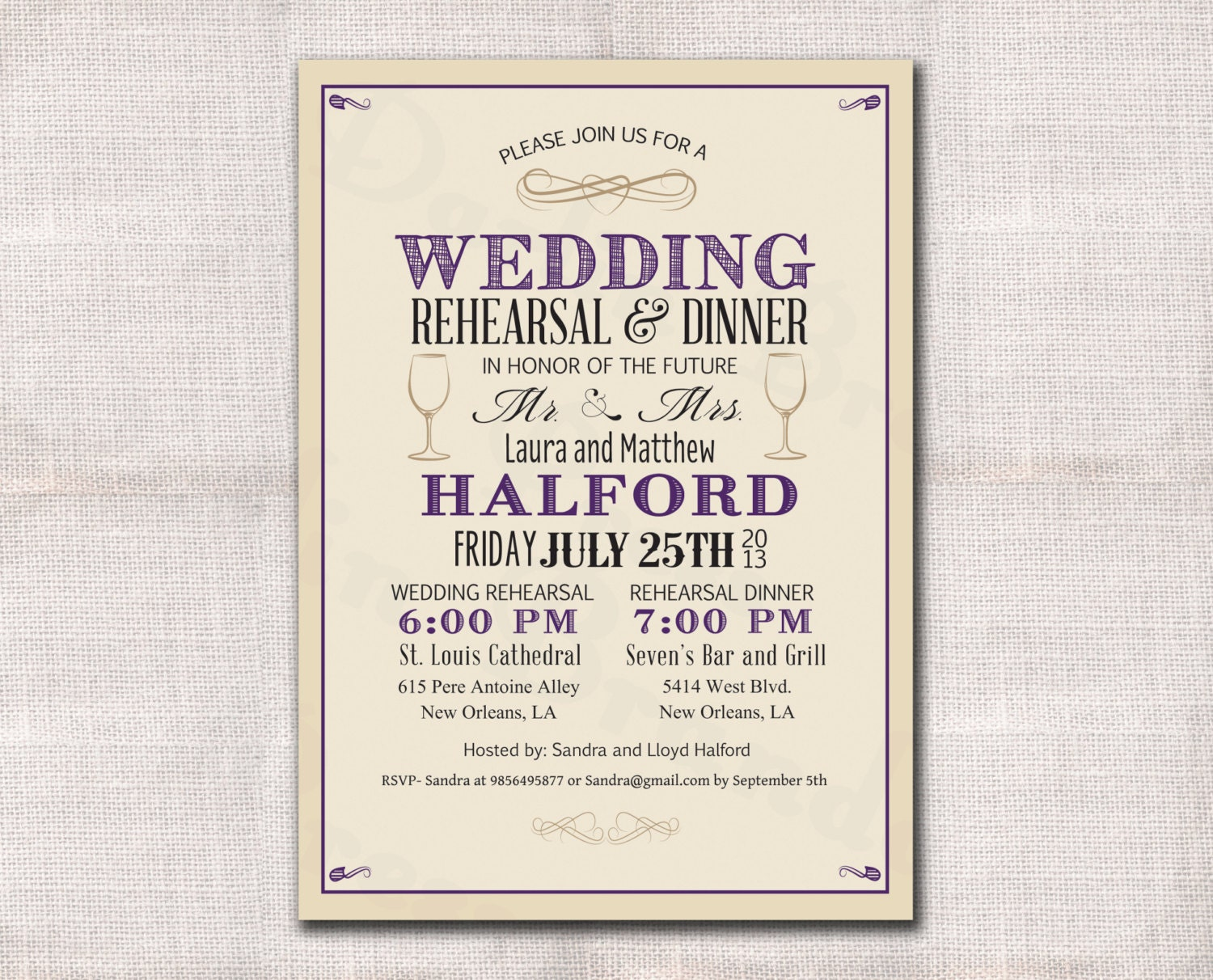 wedding rehearsal dinner invitation custom printable With templates for wedding rehearsal invitations