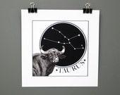 Zodiac Original Digital Art Print, Taurus The Bull
