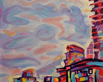 ORIGINAL Acrylic Painting - DeConstruction - 9 x 12 Colorful City Art from Vancouver