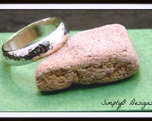 Hammered Wedding Band Ring - Textured Sterling Silver Ring - 2MM Thick - 7MM Wide Ring