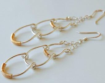 Sterling Silver and 14K Gold Earrings, Two-Tone, Dangle Earrings