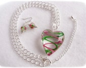 HEART and ROSES lampwork glass necklace and earrings, pink and green, gift for her, holiday, ready to ship