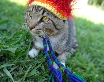 Hat for Cats, Cat Hat, Cat Costume, Costume for Cats, Pride Hat for Cats, Pride Cat Hat - The Rainbow Wackadoodle Hat for Cats and Small Dog