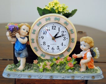 Vintage Clock - Angels, Flowers, Greenery - Ceramic, Working - 1970's - Terrific!