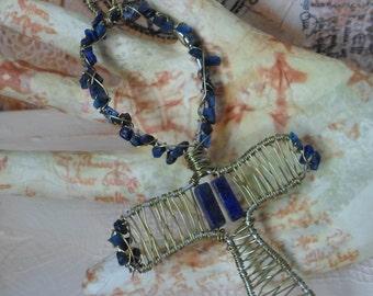 Lapis lazuli wire wrapped Ankh pendant
