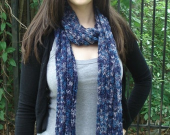 Blue/Purple Multicolor Ribbed Scarf