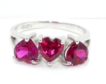 3 Carat Ruby Heart Ring .925 Sterling Silver Rhodium Finish
