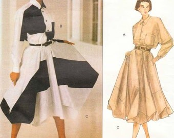 Vintage 90s ISSEY Miyake Pattern Vogue Designer Original 1160 Blouse Shirt n Draped Full Skirt Origami Fashion Style FF UNCUT Bust 34