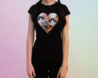 SALE / Cat heart women T-shirt