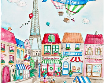 """A3 """"A Day in Paris"""" French Nursery Art Watercolor Print"""