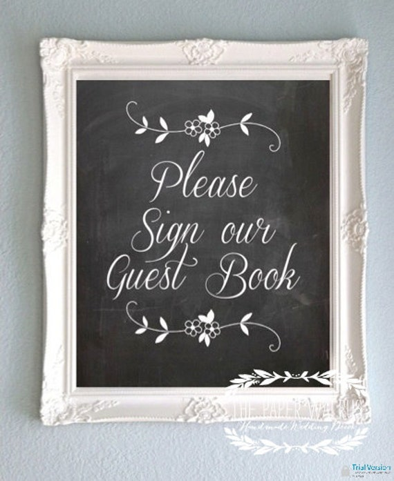 Wedding Gift Table Sign Ideas : Chalkboard Wedding Sign Guest Book Sign by ThePaperWalrus