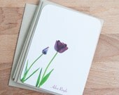 Stationery Set - Purple Tulips - Note Card Set - Spring - Gift for Her