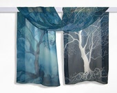 Long silk scarf ' Trees in blue ' hand painted scarves blue scarf trees scarf  - blue turquoise white