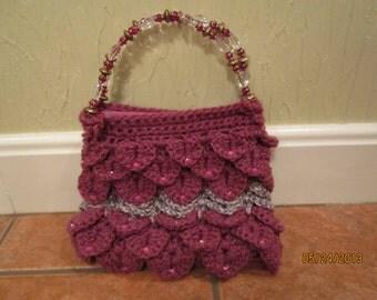 purple scale purse - crocodile crochet purse