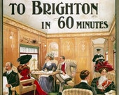 Brighton Southern Belle train Travel Poster Print-  1800s