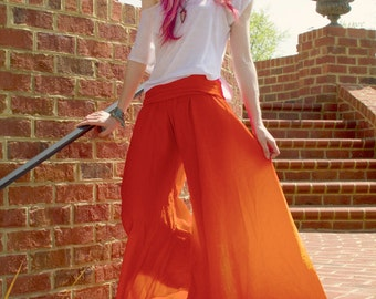 THE GODDESS PANTS: Bright orange and red ombre harem pants, great to lounge or meditate in, take them with you on your next Yoga Retreat!