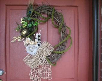 Rustic Easter Wreath Spring Wreath Summer Wreath Grapevine Wreath with a Burlap Bow and Burlap Flowers Front Door