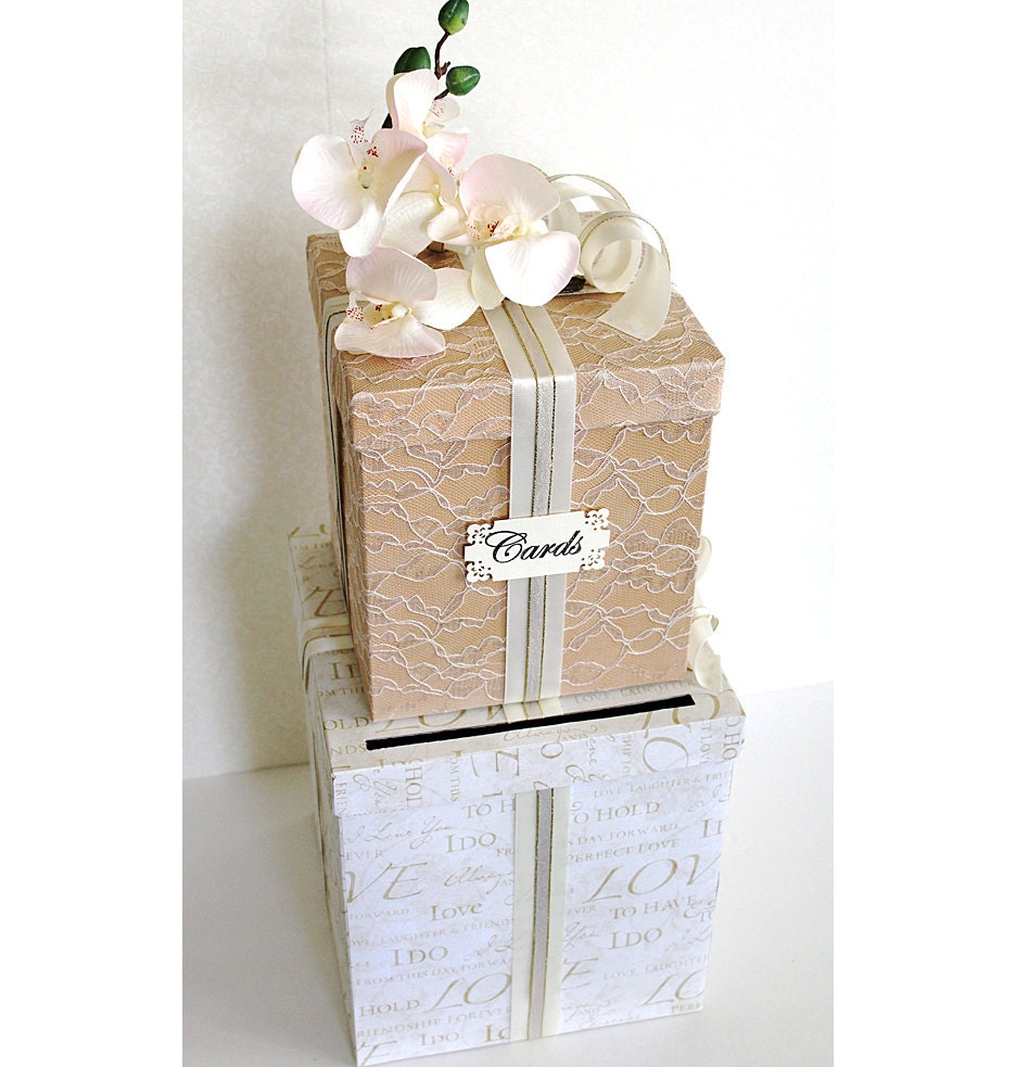 Vintage Wedding Gift Card Boxes : Wedding Card Box Vintage Ivory Tan & Gold. Wedding Card