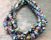 Peacock Titanium Druzy Nugget Gemstone Beads, 6mm, 1 strand, Blue AB Aurora Borealis Rainbow Flash Raw. Natural. Chunky. Rocks.