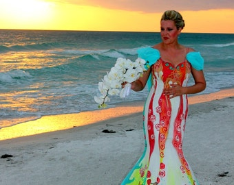 Handpainted Wedding dresses gowns custom art couture