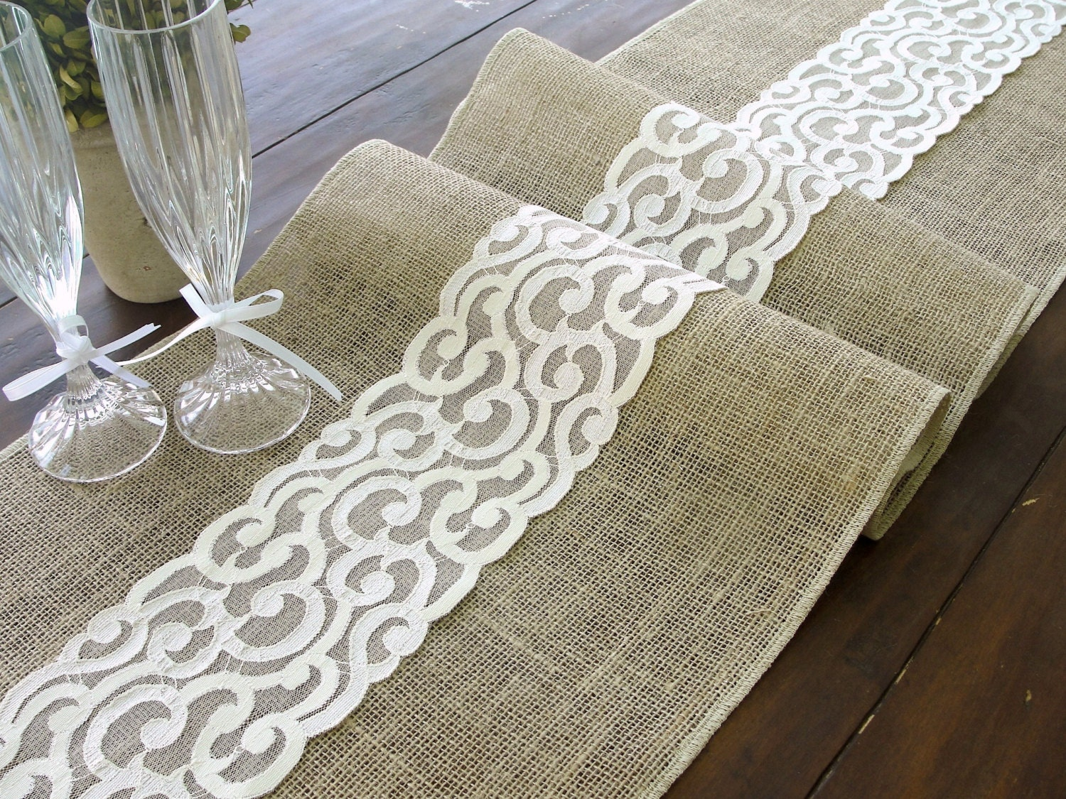 Burlap table runner burlap and lace rustic table runner
