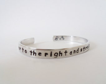 Second star to the right and straight on til morning - Aluminum Cuff Bracelet- Customizable