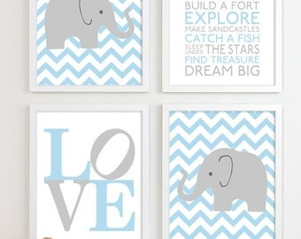 Baby Boy Nursery Art Chevron Elephant Nursery Prints, Kids Wall Art Baby  Boys Room,