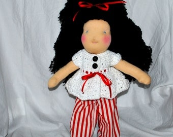 "SALE- Waldorf Doll: Her name is Apple- Beautiful Handmade 15"" Waldorf Doll with Adorable 6 Piece Wardrobe"