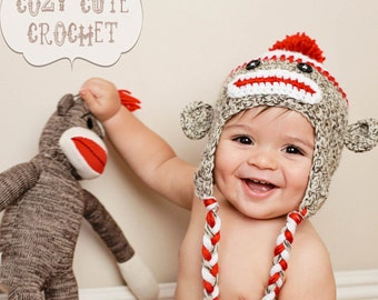 Sock Monkey Hat - Crochet Hat - Made to Order in 3-4 Weeks - Boy or Girl Hat - Photo Prop