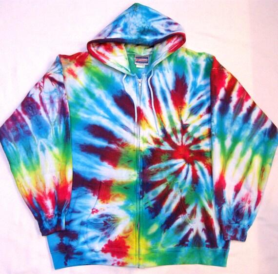 Tie Dye Hoodie Colorful Rainbow Spiral Design Full Zip