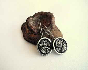 BEACH SAND EARRINGS , sterling silver 925 earrings , clay earrings , abstract earrings ,  statement black earrings