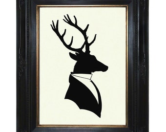 Silhouette Deer Stag Art Print Gentleman Antlers Victorian Steampunk Art Print Shadow Cut